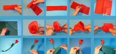 Цветы из салфетки как делать