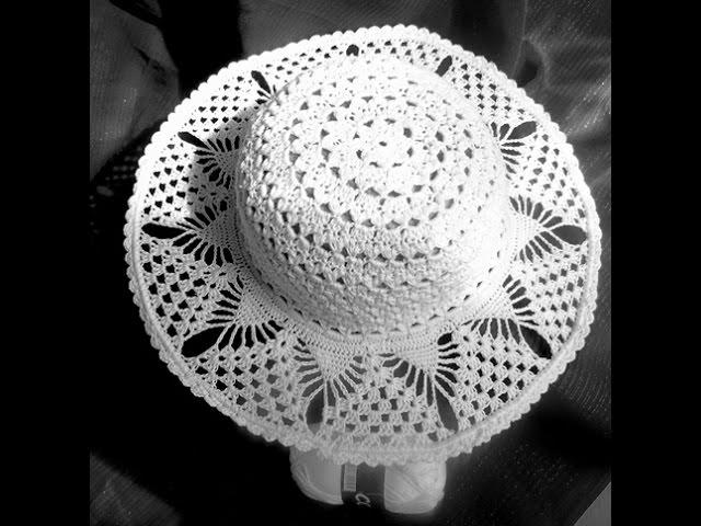 Вяжем  крючком - шляпка на лето на проволочном каркасе